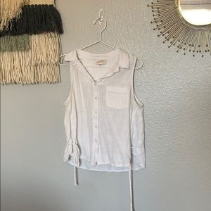 Lace up linen white button tank top